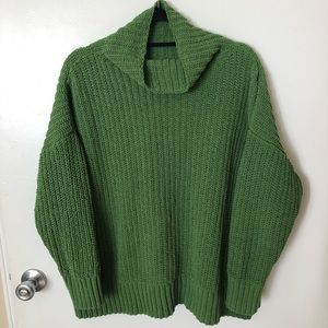 Aerie Green Knit Cowl Oversized Turtleneck Sweater